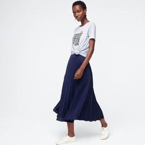 Navy blue accordion J Crew midi length skirt